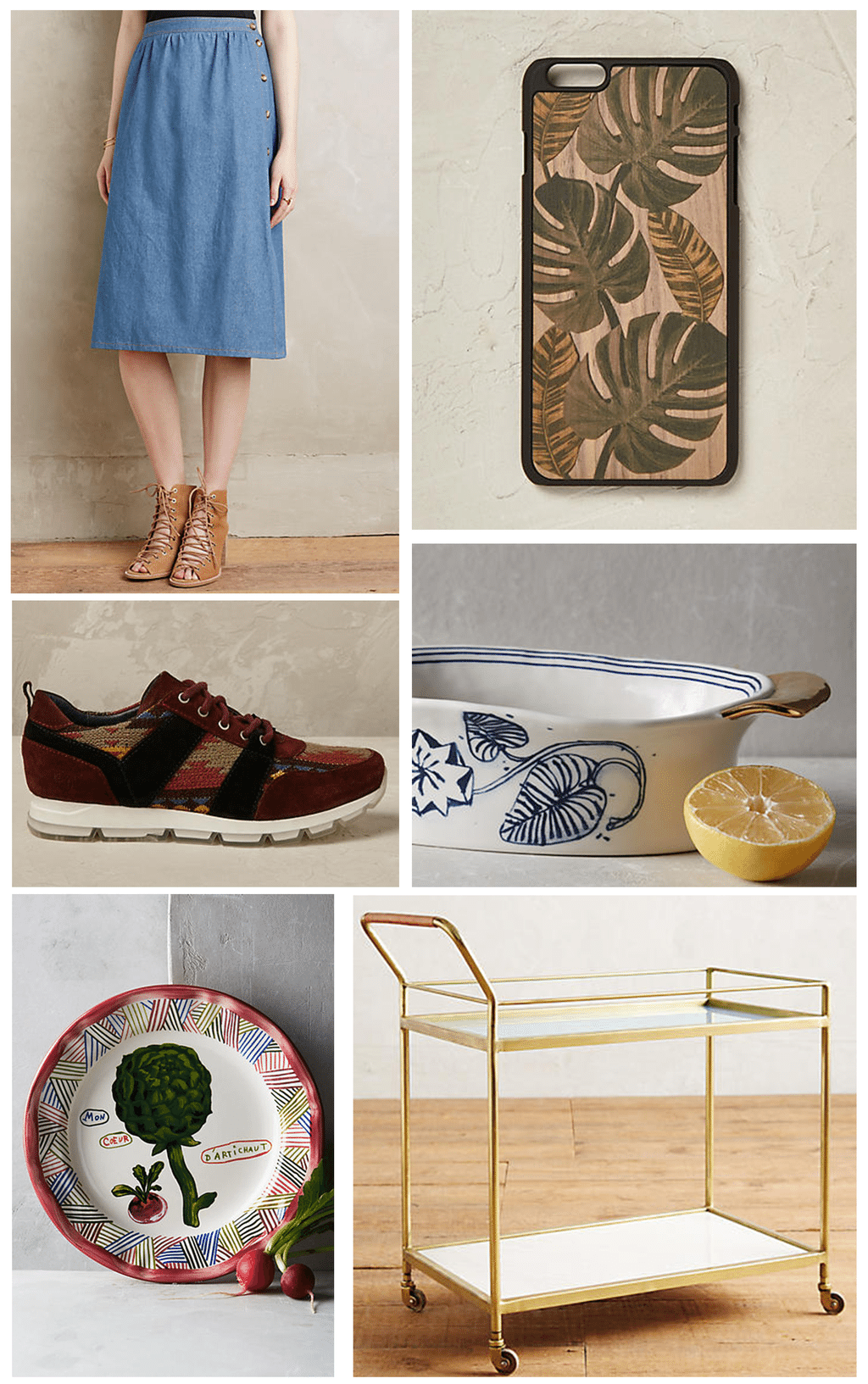 Anthropologie Montage Of Items, Denim Skirt, iPhone Case, Trainers,