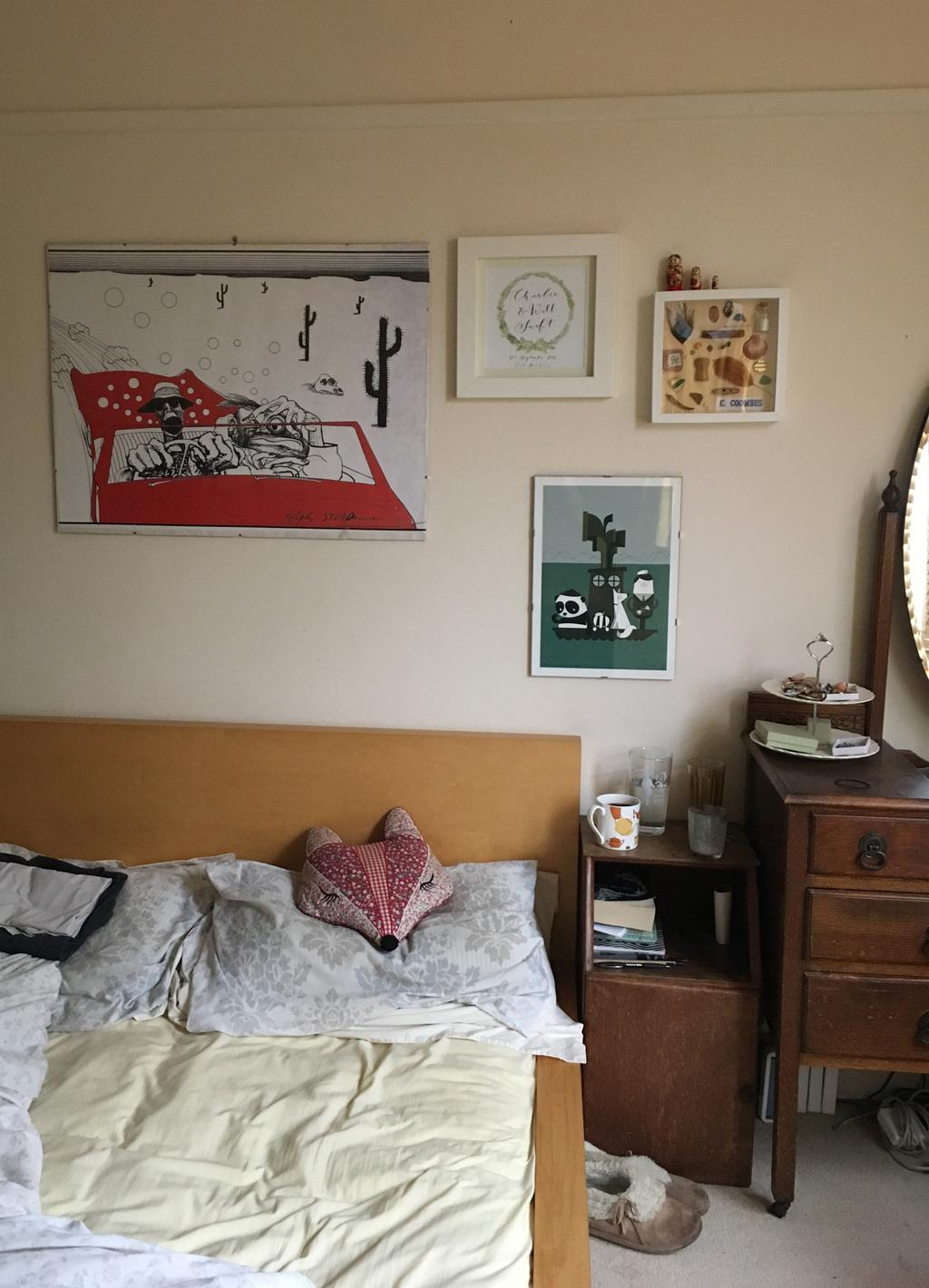 Farewell Number 36, Bedroom, Unmade bed, Gallery Wall